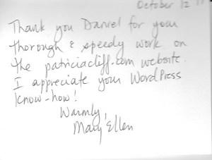 Thank you letter, Mary Ellen Baker
