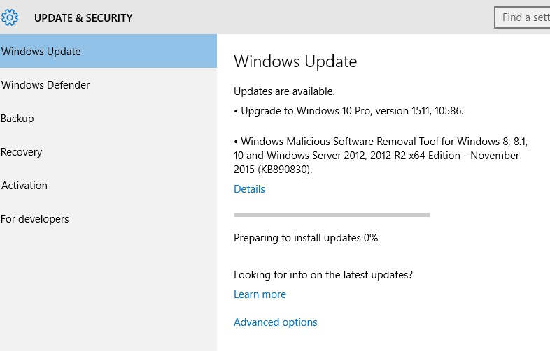 Windows 10 – November Update