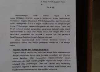 Disparbudpora Tuban Terapkan Pembatasan Hajatan Masa PPKM Mikro
