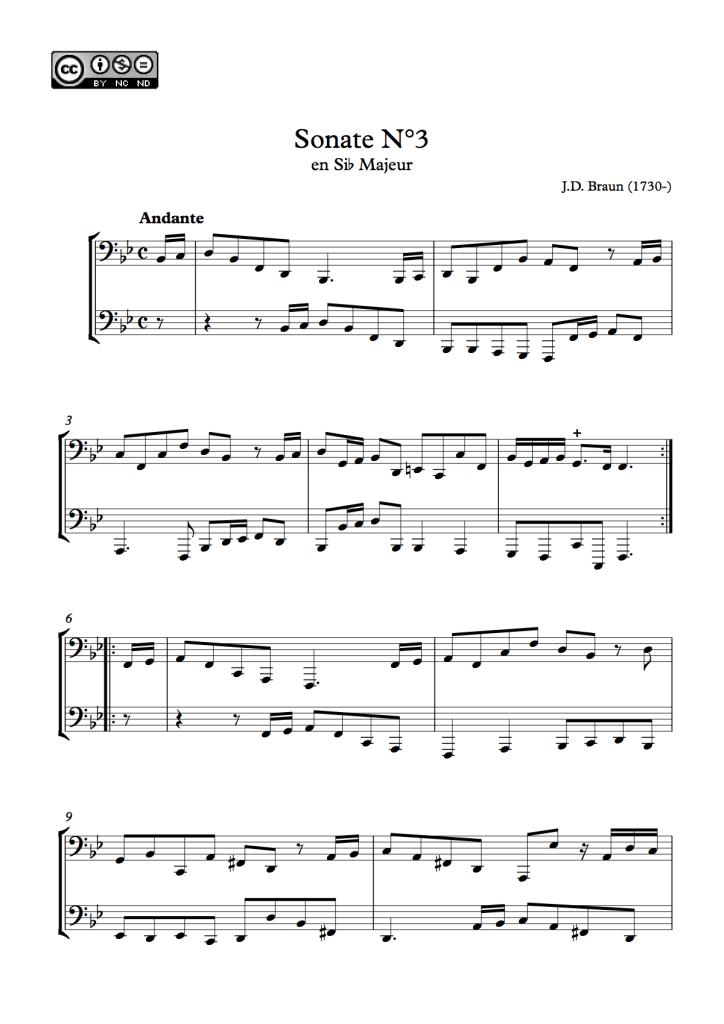 Première page de la sonate N°3 pour deux bassons de J.D. Braun