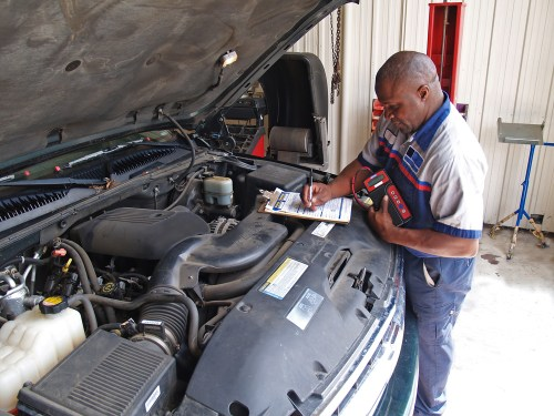Mechanic using job aid