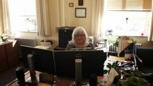 Cathy hard at work