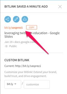 Copy the customize URL