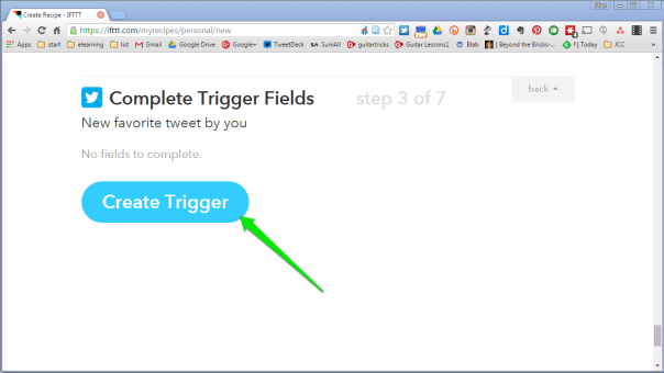 Click on Create Trigger button.