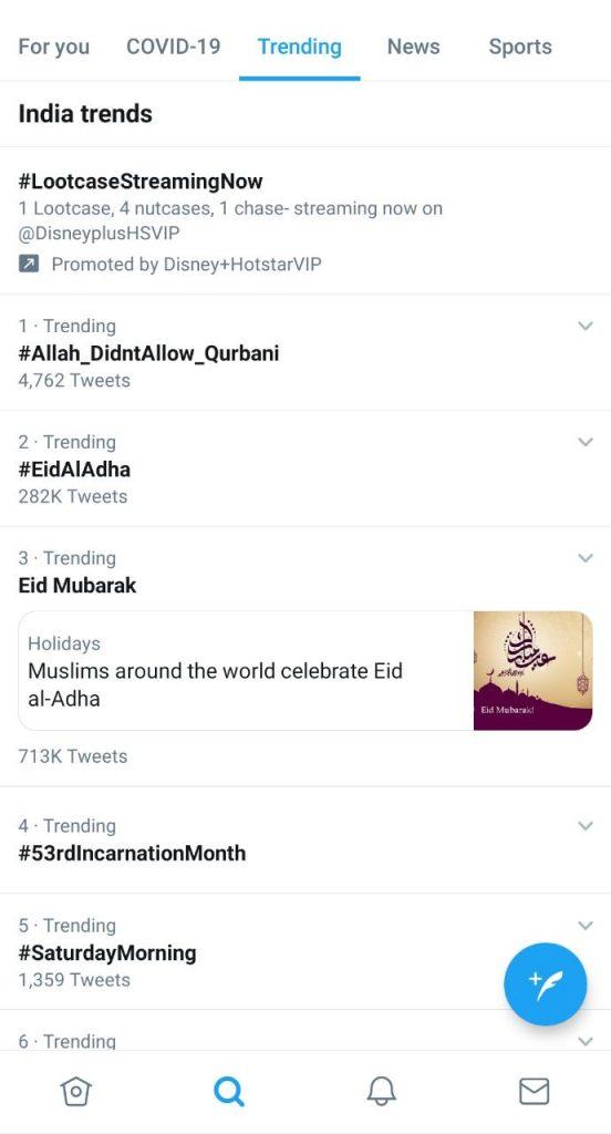 today twitter trending