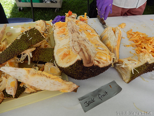 The exotic fruit table gave away samples of many interesting fruits.