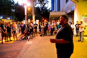 Sunset Cyphers -- ZFG artist Cam drops freestyle verses to a captivated audience at Crest Theatre. Photo: Alexander Amaya