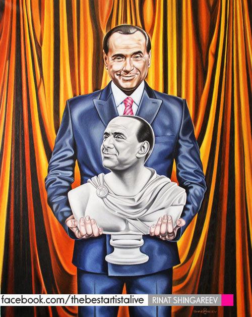 Silvio Berlusconi by Rinat Shingareev. Oil on Canvas