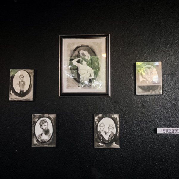 Artwork by Lauren Margaux hanging at the TUBE. Circus at the Blue Lamp in Sacramento CA.
