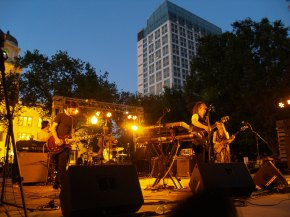 Island of Black and White close out the first in the Friday night Concerts in the Park series.Photo: Kate Gonzales.