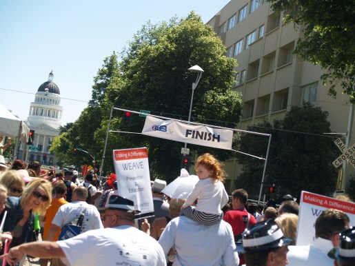 A group of walkers march toward the finish line. Photo: Kate Gonzales
