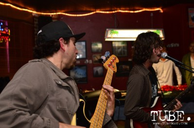 Luis Mayorga (left) and Julian Borrego (right) of Paisano playing at the Hideaway for The Wall art show presented by TUBE. Sacramento, CA. Photo Alejandro Montaño.