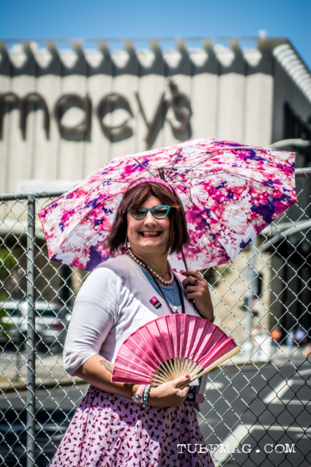 Suzy - Jane poses for a shot under her parasol at Sac Pride 2015, Photo Sarah Elliott
