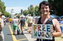 Daniel Sederquist at Sac Pride 2015 was going around giving free hugs to people who wanted them. Sacramento, CA. 2015. Photo Alejandro Montaño.