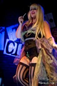 Katy Karma of Sacramento burlesque troop The Sizzling Sirens performing at the TUBE. Circus at the Blue Lamp. Sacramento CA. May 15, 2015. Photo Sarah Elliott.
