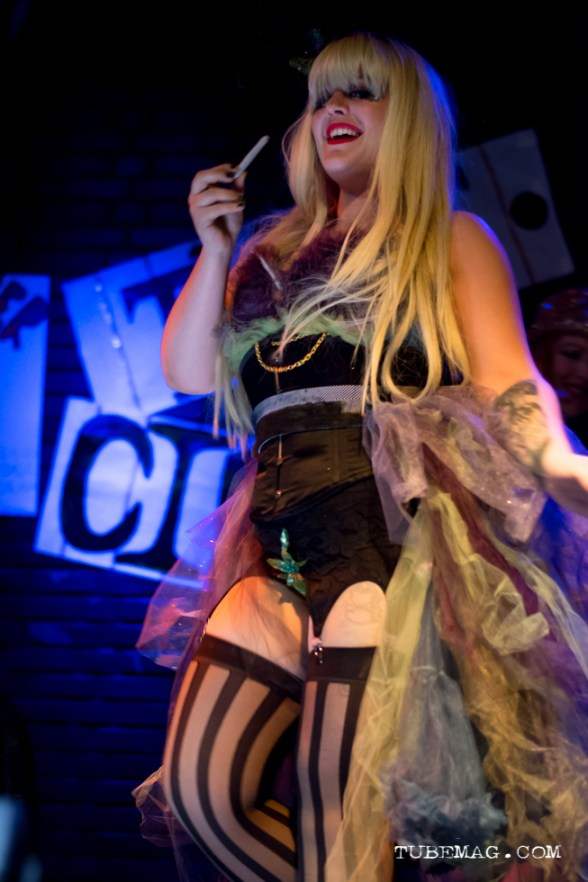 Katy Karma of Sacramento burlesque troop The Sizzling Sirens performing at the TUBE. Circus at the Blue Lamp. Sacramento CA. May 15, 2015. Photo Sarah Elliott.