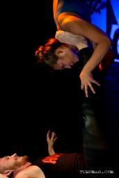 Yoga acrobats, Partner Play, performing at the TUBE. Circus May 15 2015 at The Blue Lamp in Sacramento CA. Photo Sarah Elliott.