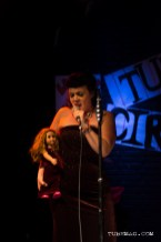 Genevieve Bradbury Bohan reveling her conjoined twin at the TUBE. Circus at the Blue Lamp located in Sacramento CA. May 15, 2015. Photo Sarah Elliott.