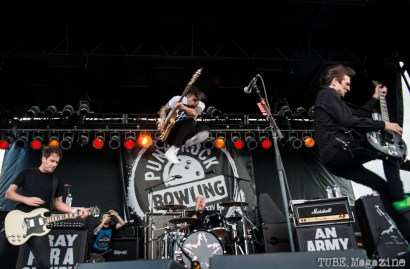 Anti-Flag on stage at the 17th Annual Punk Rock Bowling Festival in Las Vegas Nevada, May 2015. Photo Melissa Uroff