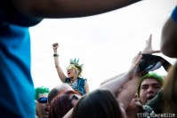 A young woman enjoying the 17th Annual Punk Rock Bowling Festival in Las Vegas Nevada, May 2015. Photo Melissa Uroff