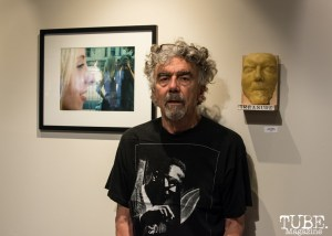 """Doug Biggert between his piece, """"Melissa Arendt"""" and the by piece made of him. Photo: Sarah Elliott."""