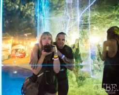Melissa Uroff and Matt Millner playing around with some of TBD Fest's interactive art titled The Portal. September 20, 2015. Photo Melissa Uroff