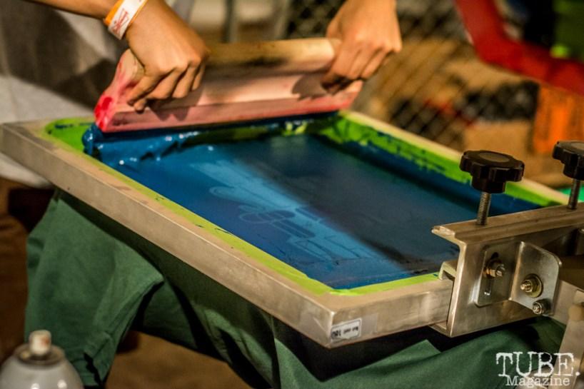 Screen printing at TBD Fest, Sacramento CA. 2015 Photo Sarah Elliott