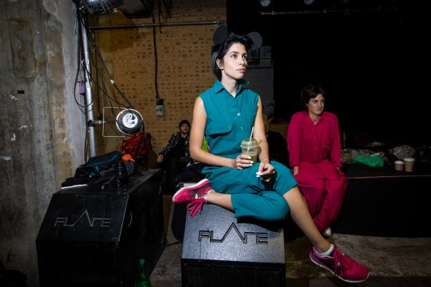 Pussy Riot rehearses ahead of the show they will be performing at Banksy's Dismaland on the 25th of September. Photo: Vianney Le Caer for the Pussy Riot