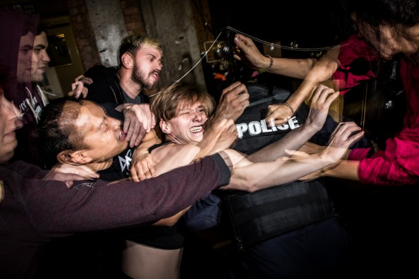 Pussy Riot rehearses ahead of the show they will be performing at Banksy's Dismaland on the 25th of September. London, U.K. Thursday 24th of September 2015 Photo credit: Vianney Le Caer for the Pussy Riot vianney.lecaer@gmail.com Instagram @vlecaer