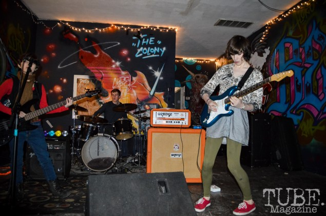 Brianna, Gabe, and Tristen of psychedelic band Cresca, playing Cafe Colonial's third anniversary party in Sacramento CA. Photo Vi Mayugba 2015