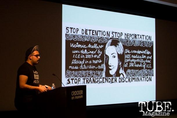 Chucha Marquez speaks on Art Beyond Fear: Art and Activism at The Crocker Art Museum in Sacramento, Ca. November 2015. Photo Alejandro Montaño.
