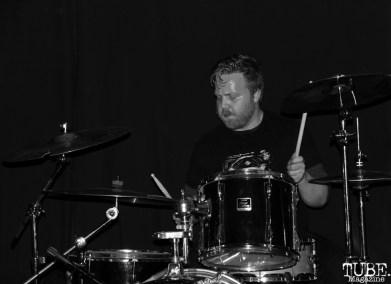 Drummer Kevin Martinez of Coyote Bred, Café Colonial, Sacramento, CA.January 8,2016. Photo Anouk Nexus