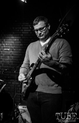 Guitarist of the West Lords, Morgan Harrison, performing at the Blue Lamp. January 9 2016. Photo Melissa Uroff
