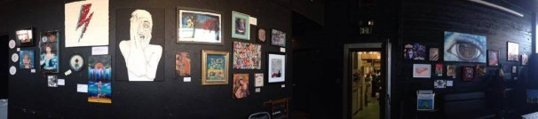 Midway through hanging up the artwork forLife On Mars at the Blue Lamp in Sacramento CA. February 2016.