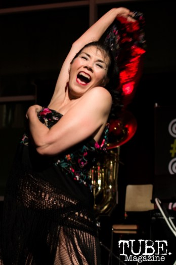 Sophie Rose Bisou of the Fishnet Follies putting on a little classical burlesque show at ArtMix Vaudeville at the Crocker in Sacramento, Ca. March 2016. Photo Alejandro Montaño