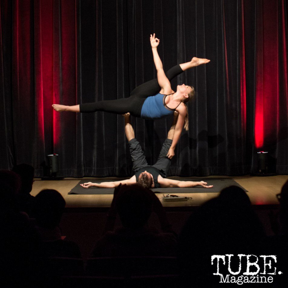 Handstand Nation showing off some incredible acro yoga at ArtMix Vaudeville at the Crocker in Sacramento, Ca. March 2016. Photo Alejandro Montaño