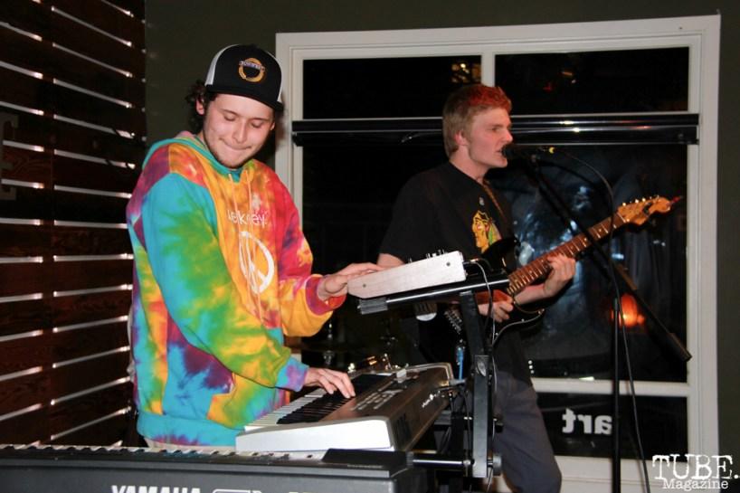 Spencer Rakela guitarist/singer and Clayton LaFlamme keyboardist of Animals in the Attic, Shine Cafe, Sacramento, CA.March 11,2016. Photo Anouk Nexus