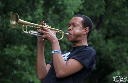 The Funksters Trumpet player with Tessa Evans, Cesar Chavez Park, Sacramento, CA. May 6th, 2016. Photo Anouk Nexus