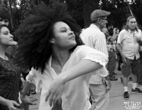 Audience member dancing, Concerts in the Park, Cesar Chavez Park, Sacramento, CA. May 13, 2016, Photo Anouk Nexus