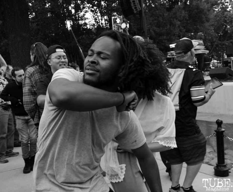 Luke Tailor audience member dancing, Concerts in the Park, Cesar Chavez Park, Sacramento, CA. May 13, 2016, Photo Anouk Nexus