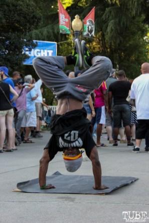 Timothy Joseph dancer of the JimNTim dance duo, Concerts in the Park, Cesar Chavez Park, Sacramento, CA. May 27, 2016, Photo Anouk Nexus