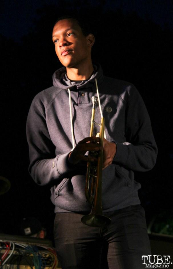 The Funksters Trumpet player with James Cavern, Cesar Chavez Park, Sacramento, CA. May 6th, 2016. Photo Anouk Nexus