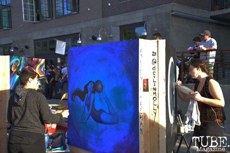 Live painting at the R Street Block Party in Sacramento, California on Saturday 21, 2016.