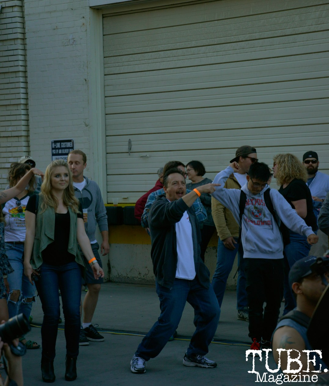 People dancing while the group Idea Team plays at the R Street Block Party in Sacramento, California on Saturday 21, 2016.
