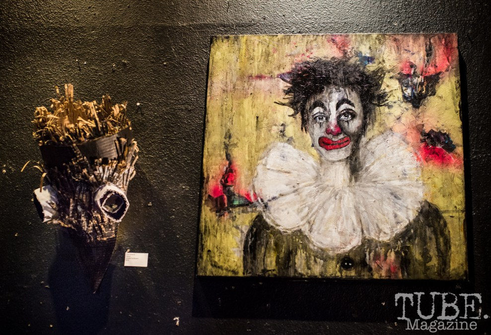 Artwork by Izze Greene (left) and Colleen Craig (right). TUBE. Circus, 2016. Photo Melissa Uroff.
