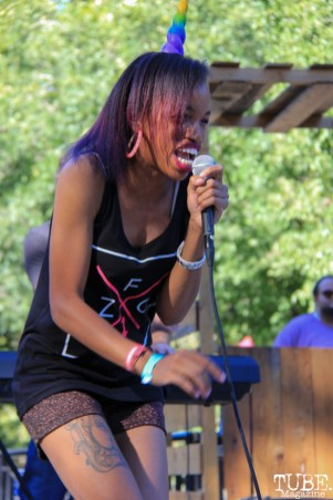April Walker, singing with ZFG, Concerts in the Park, Cesar Chavez Park, Sacramento, CA. June 24, 2016. Photo Anouk Nexus