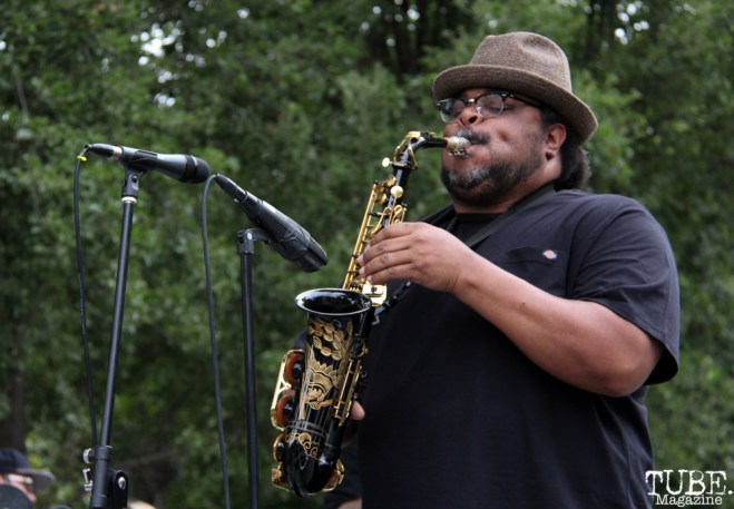 Who Cares saxophonist and flutist, Jammal Tarkington, Concerts in the Park, Cesar Chavez Park, Sacramento, CA. June 17, 2016. Photo Anouk Nexus