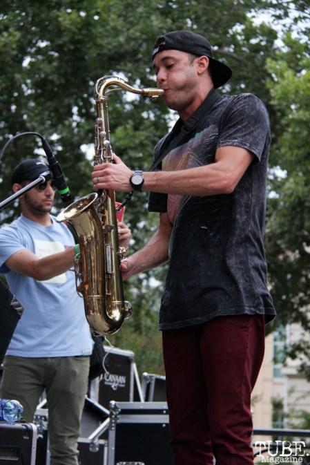 Vokab Kompany saxophonist, Jesse Molloy, Concerts in the Park, Cesar Chavez Park, Sacramento, CA. June 17, 2016. Photo Anouk Nexus