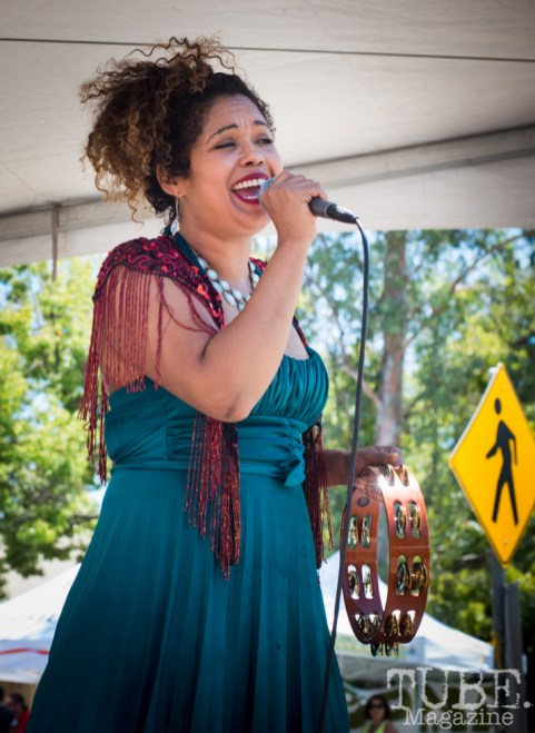 Empress Niko singing at the Crocker Block by Block Party in District 5, July 9, Sacramento CA. Photo Melissa Uroff