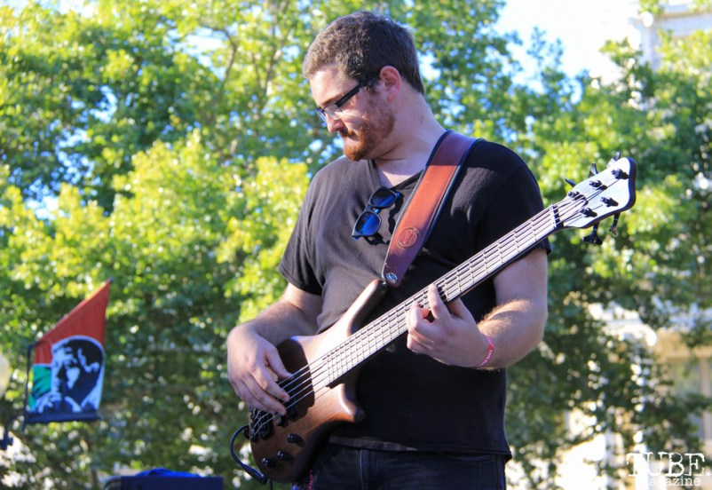 Bassist for Colleen Heauser, Concerts in the Park, Cesar Chavez Park, Sacramento, CA. July 8, 2016. Photo Anouk Nexus